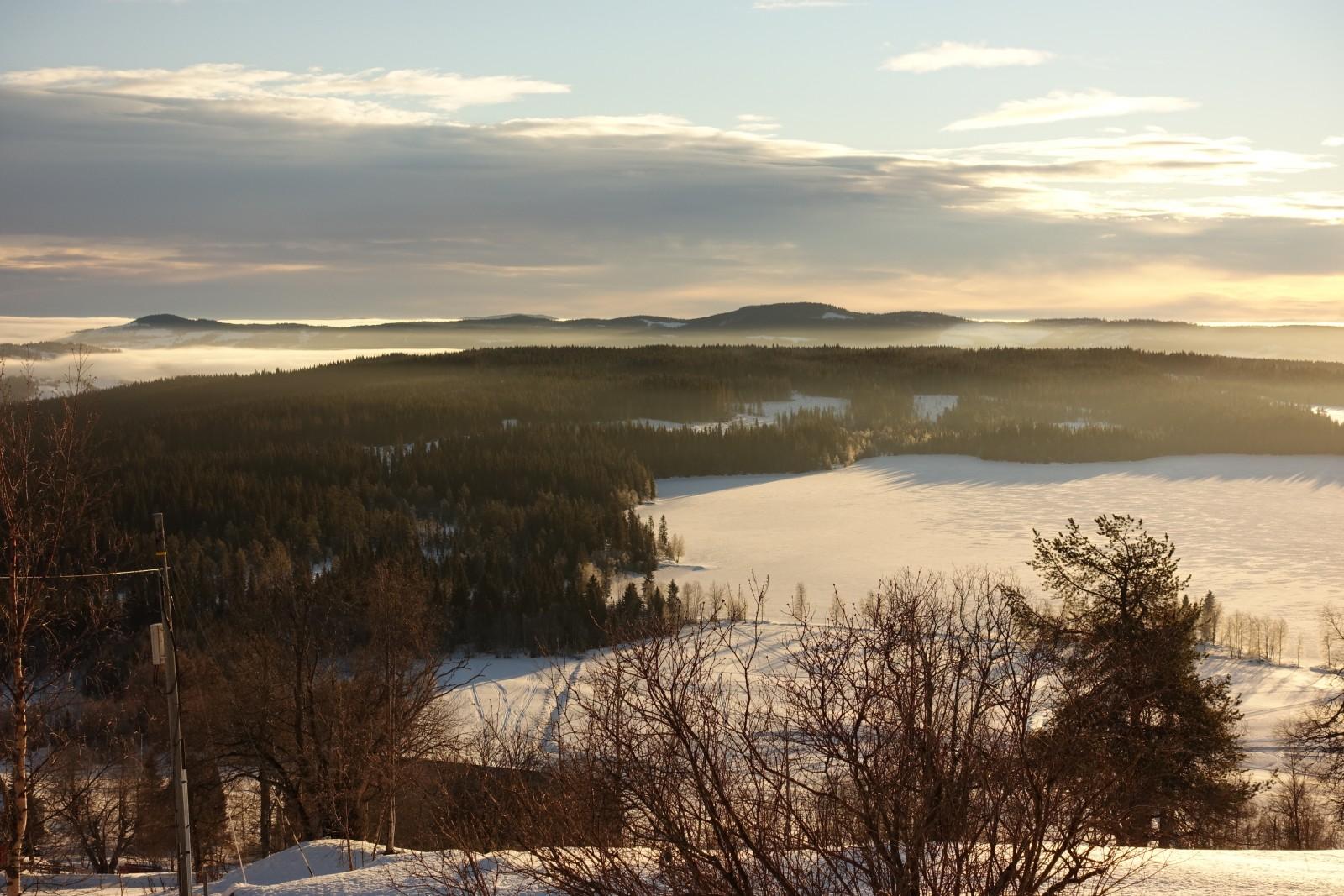 Utsikt fra utleiehytta Ulsaker Panorama - ledig i vinterferien